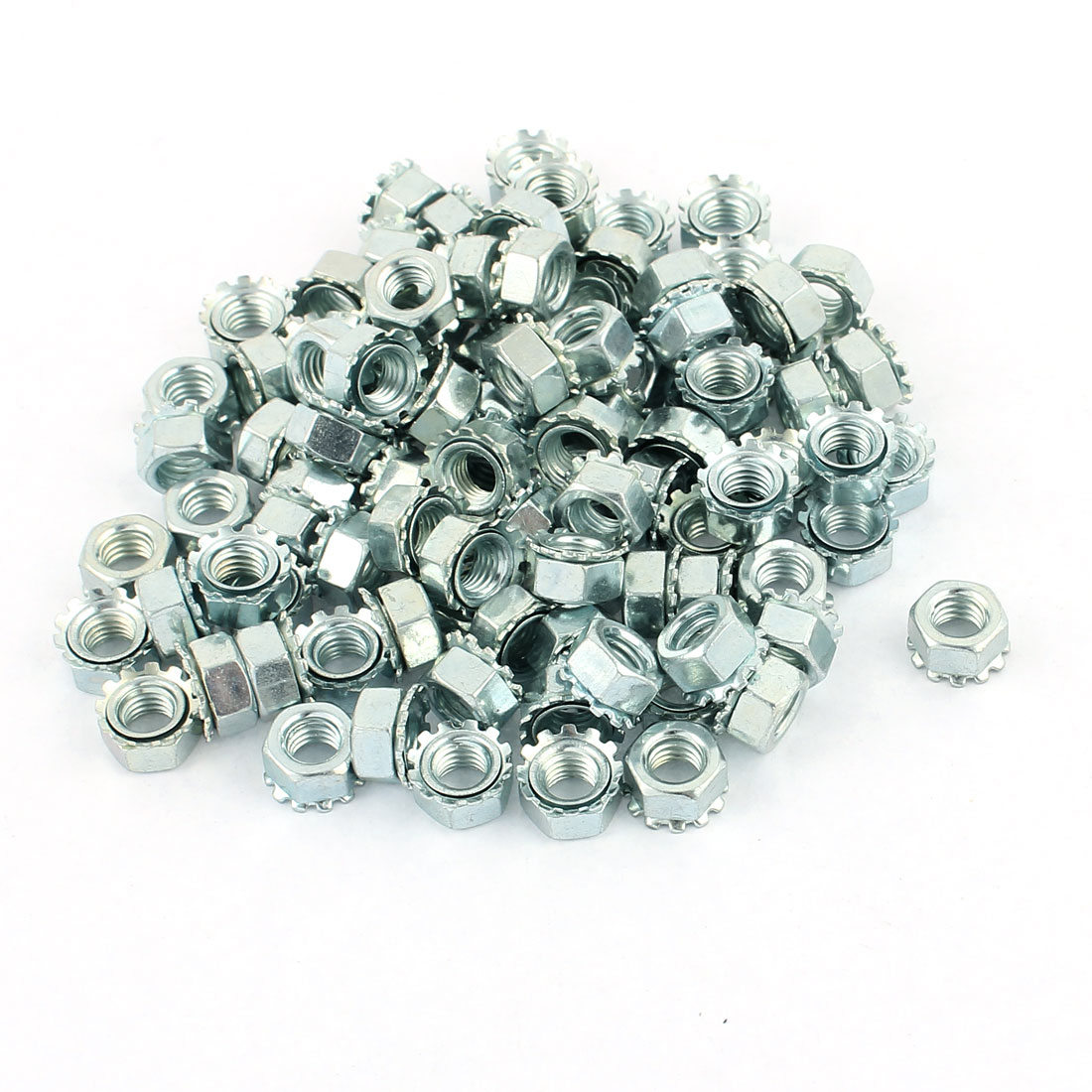 100pcs M5 Female Thread Zinc Plated Hex Star External Tooth K Lock Kep Nut