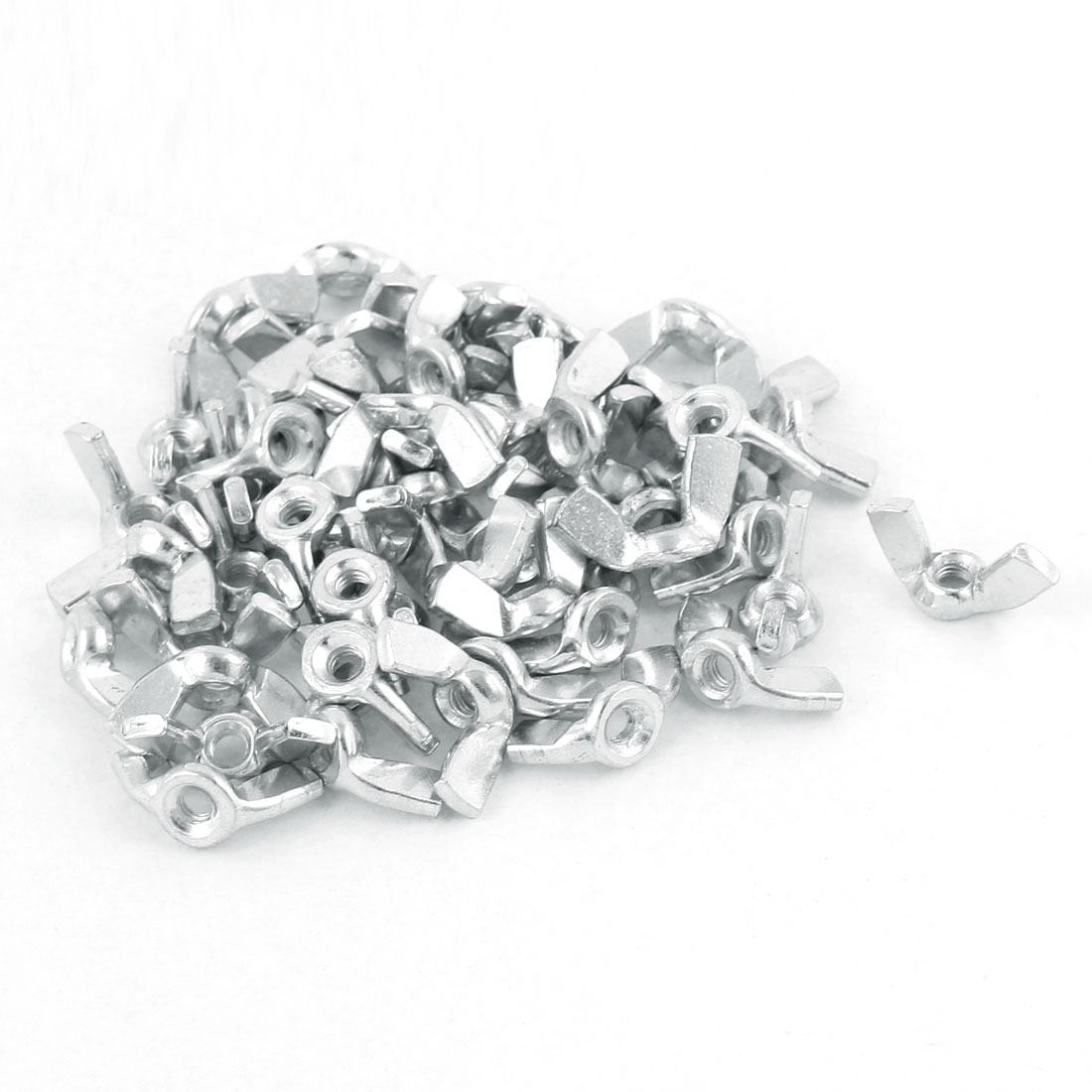 50Pcs M3 x 7.2mm Thread Zinc Plated Steel Nuts Wing Nut Silver Tone