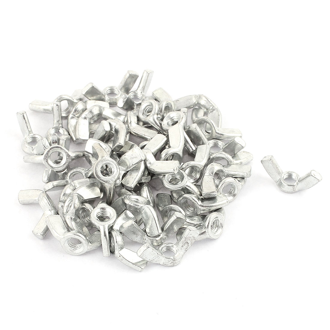 50Pcs M5 x 9.5mm Thread Zinc Plated Steel Nuts Wing Nut Silver Tone