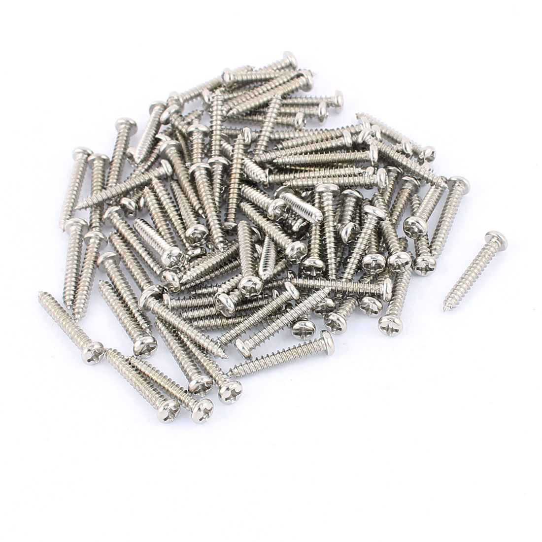 100 Pcs M3 x 20mm Stainless Steel Phillips Round Head Self Tapping Screws Bolts