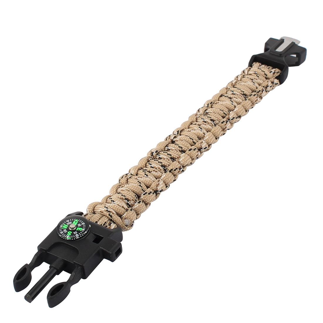 Outside Hiking Camping Multifunctional Design Plastic Side Release Survival Bracelet Khaki