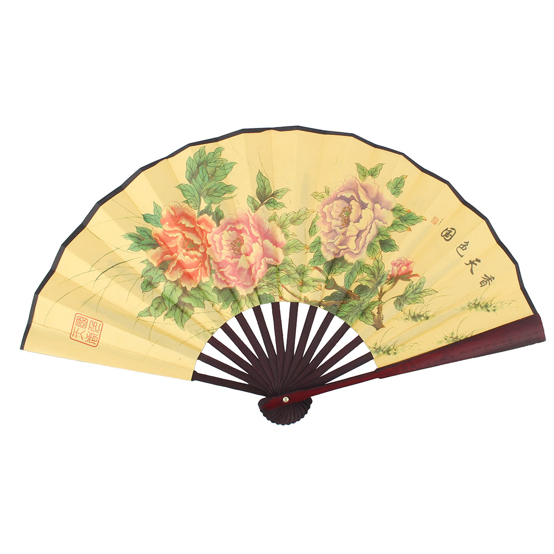 Wood Frame Peony Pattern Printing Chinese Character Retro Folding Handheld Fan