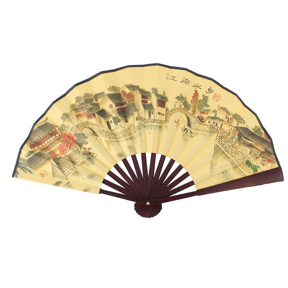 Bamboo Frame Poetry Chinese Landscape Painting Straight Rod Handheld Folding Fan