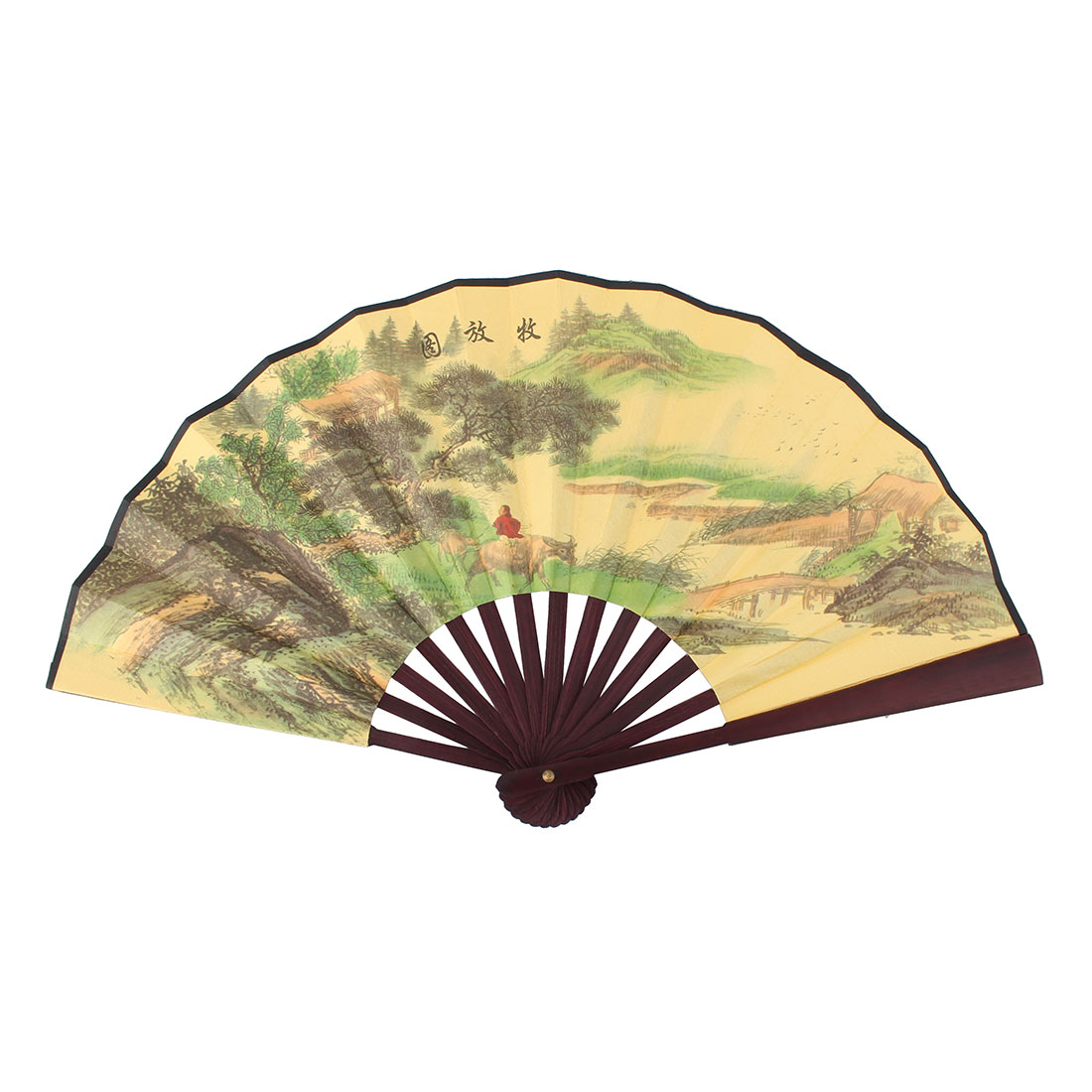 Wooden Ribs Poetry Landscape Painting Chinese Character Hand Folding Fan Yellow