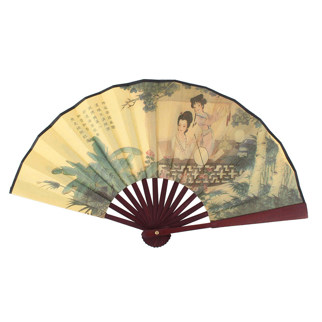 Wood Ribs Landscape Painting Poetry Chinese Retro Summer Hand Folding Fan Yellow