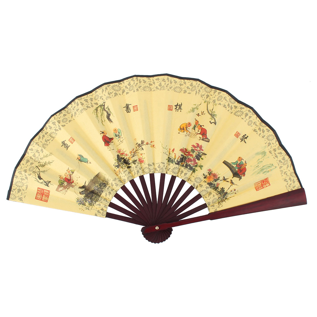 Wooden Frame Poetry Chinese Landscape Painting Straight Rod Handheld Folding Fan