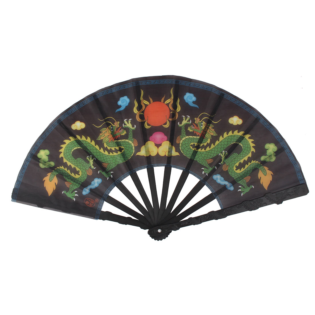 Summer Plastic Frame Dragon Pattern Folding Handheld Hand Fan Hand-crafted