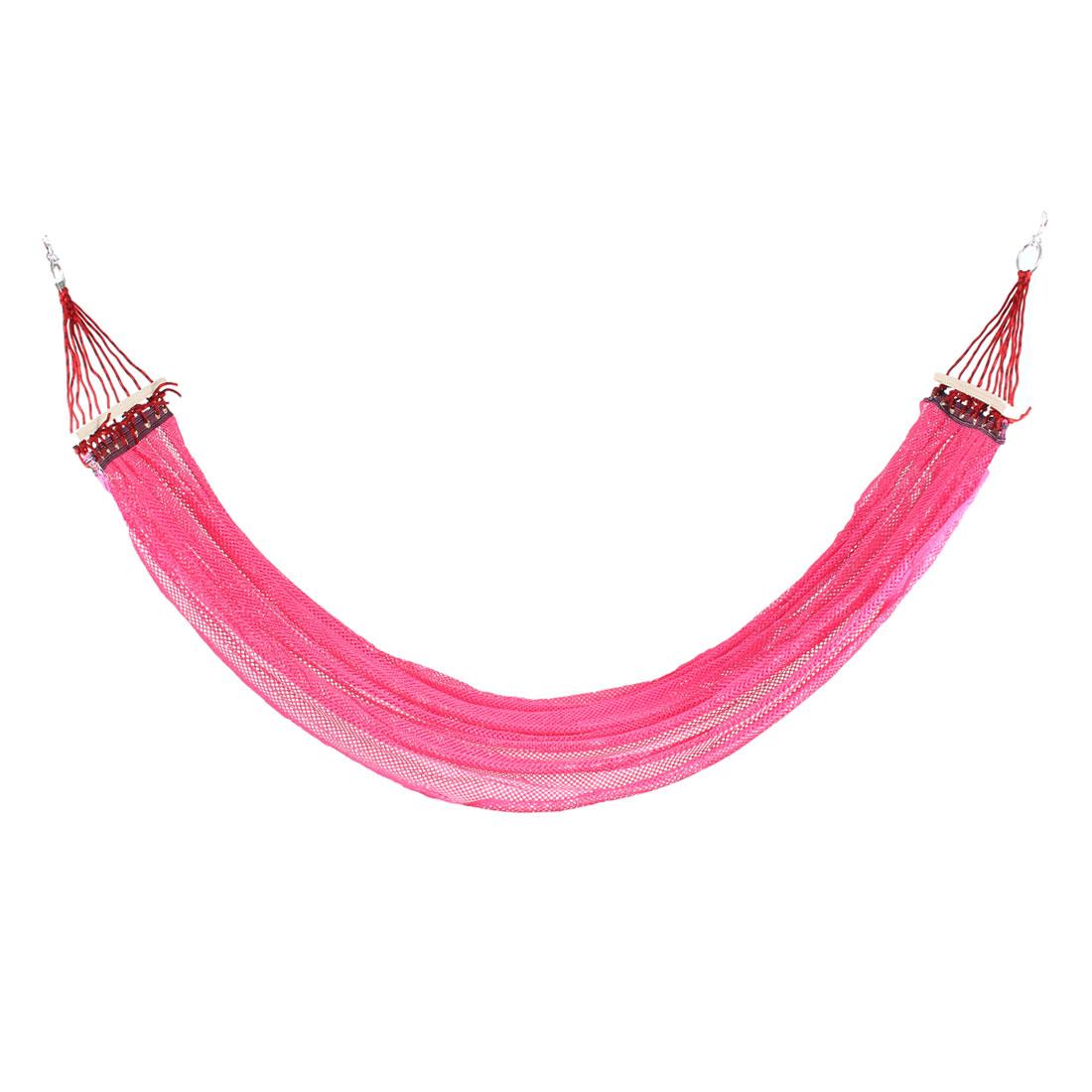 Beach Travel Hiking Nylon Mesh Spreader Swing Hanging Bed Suspended Hammock Pink