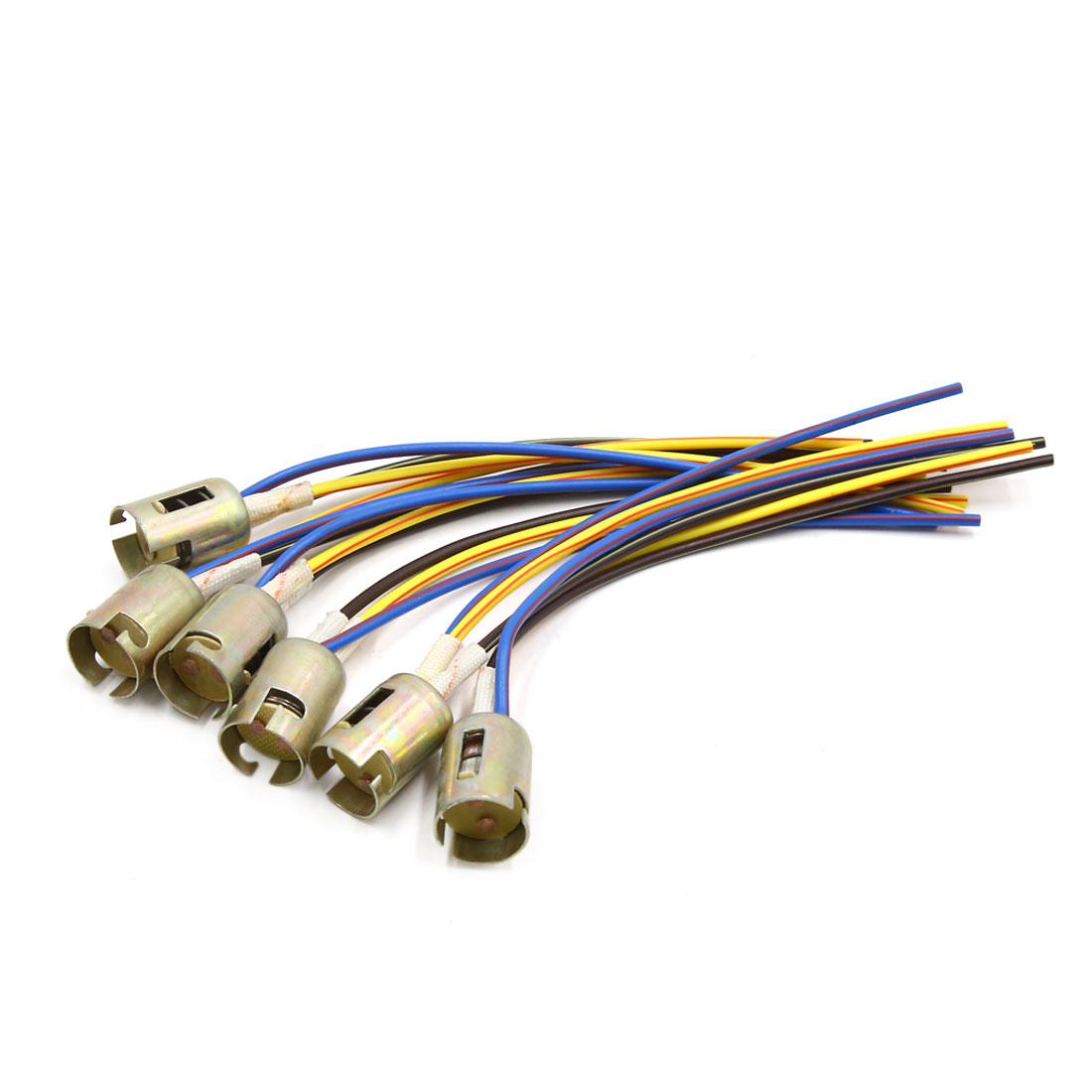 6Pcs 3 Wires 1157 Bulb Socket Brake Turn Signal Light Harness LED Adapter