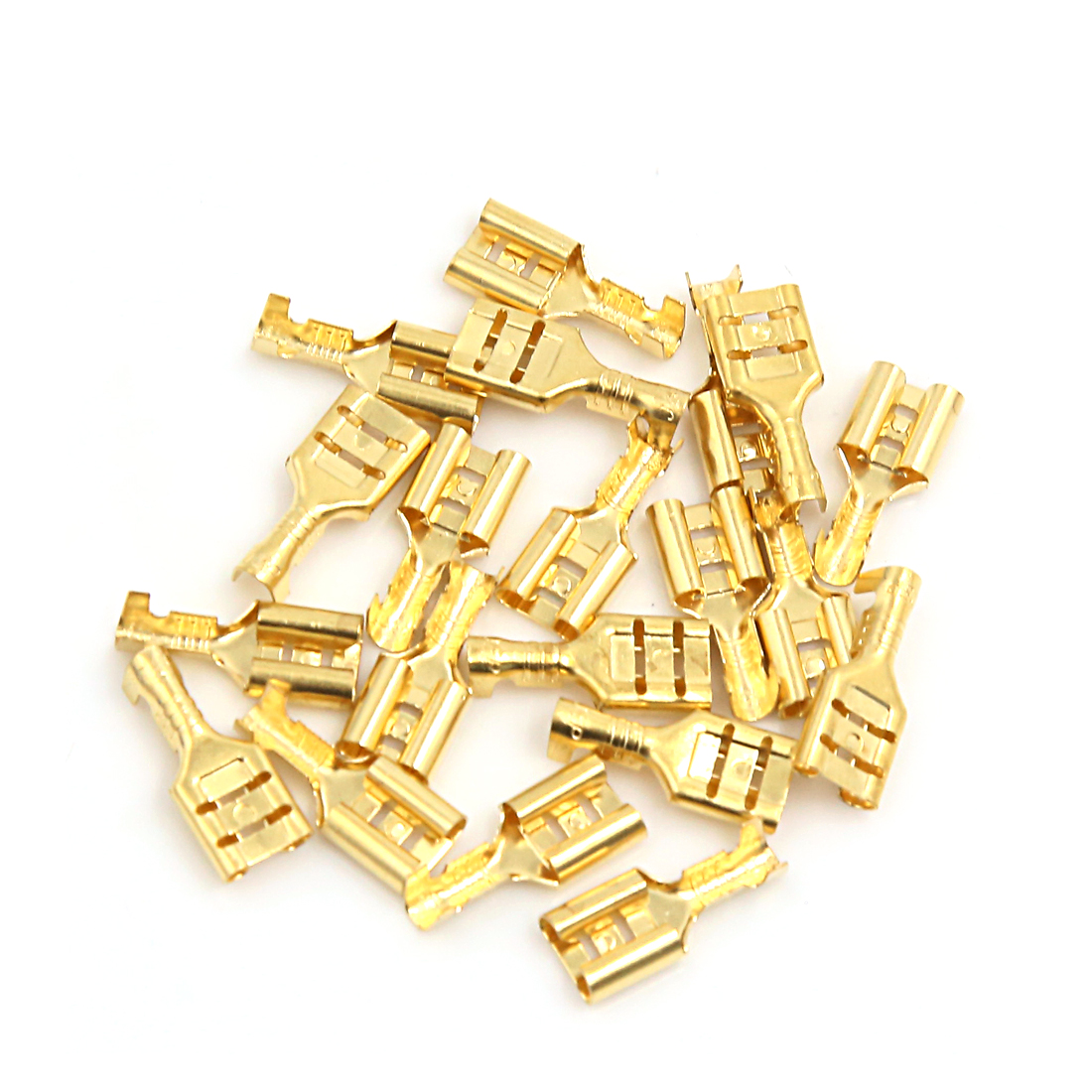 20Pcs Electronic Components 7mm Width Female Spade Terminals Connector Gold Tone