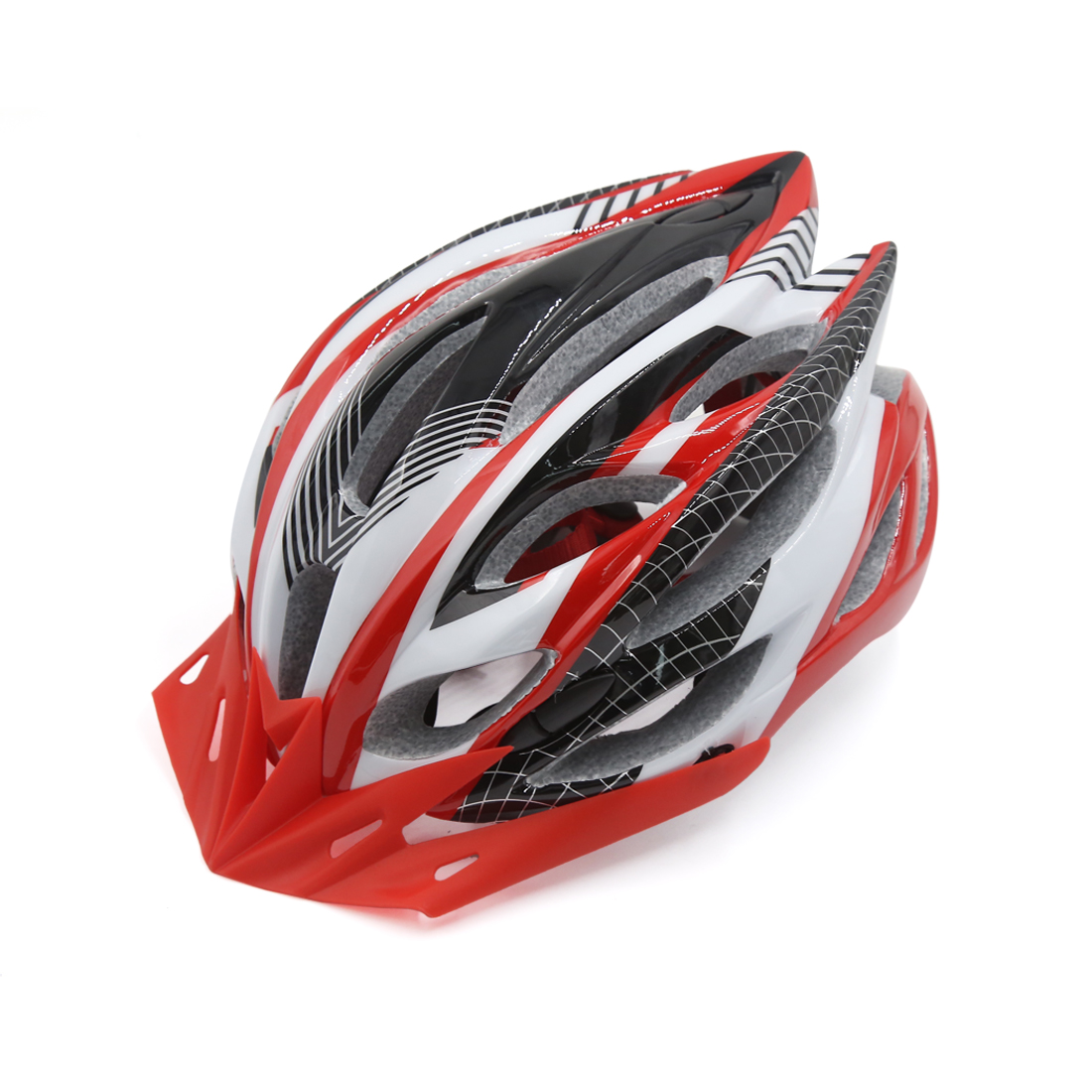 Red White Adjustable Adult Helmet w Visor for Road Bike Racing Bicycle Cycling