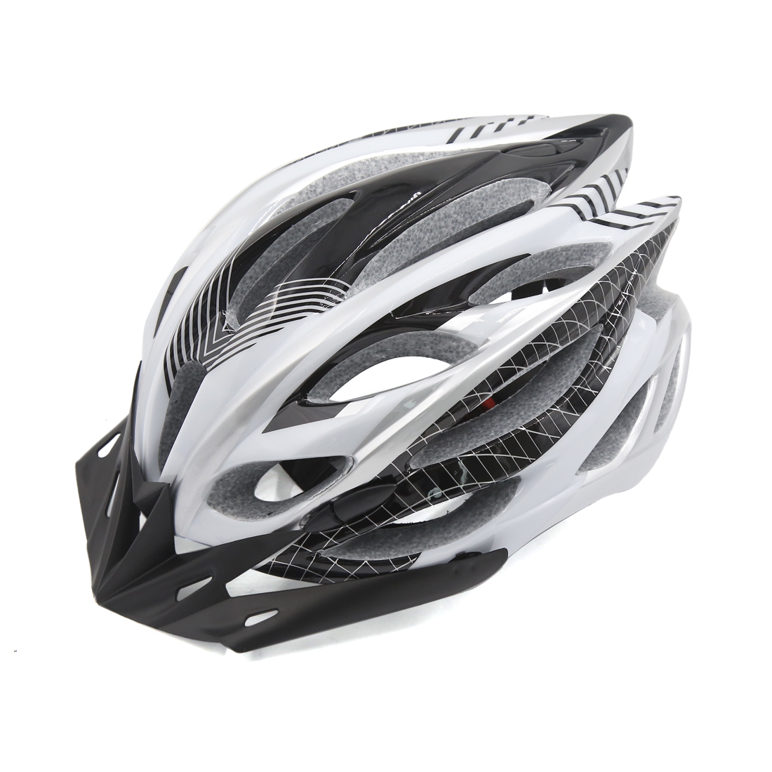 Black White Adjustable Adult Helmet w Visor for Road Bike Racing Bicycle Cycling