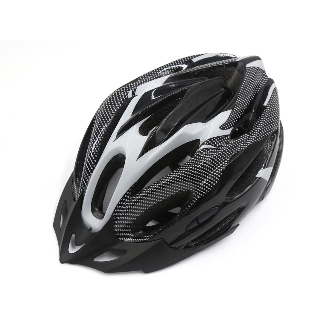 Carbon Fiber Pattern 21 Holes Cycling Bicycle Soprt Bike Helmet Visor White