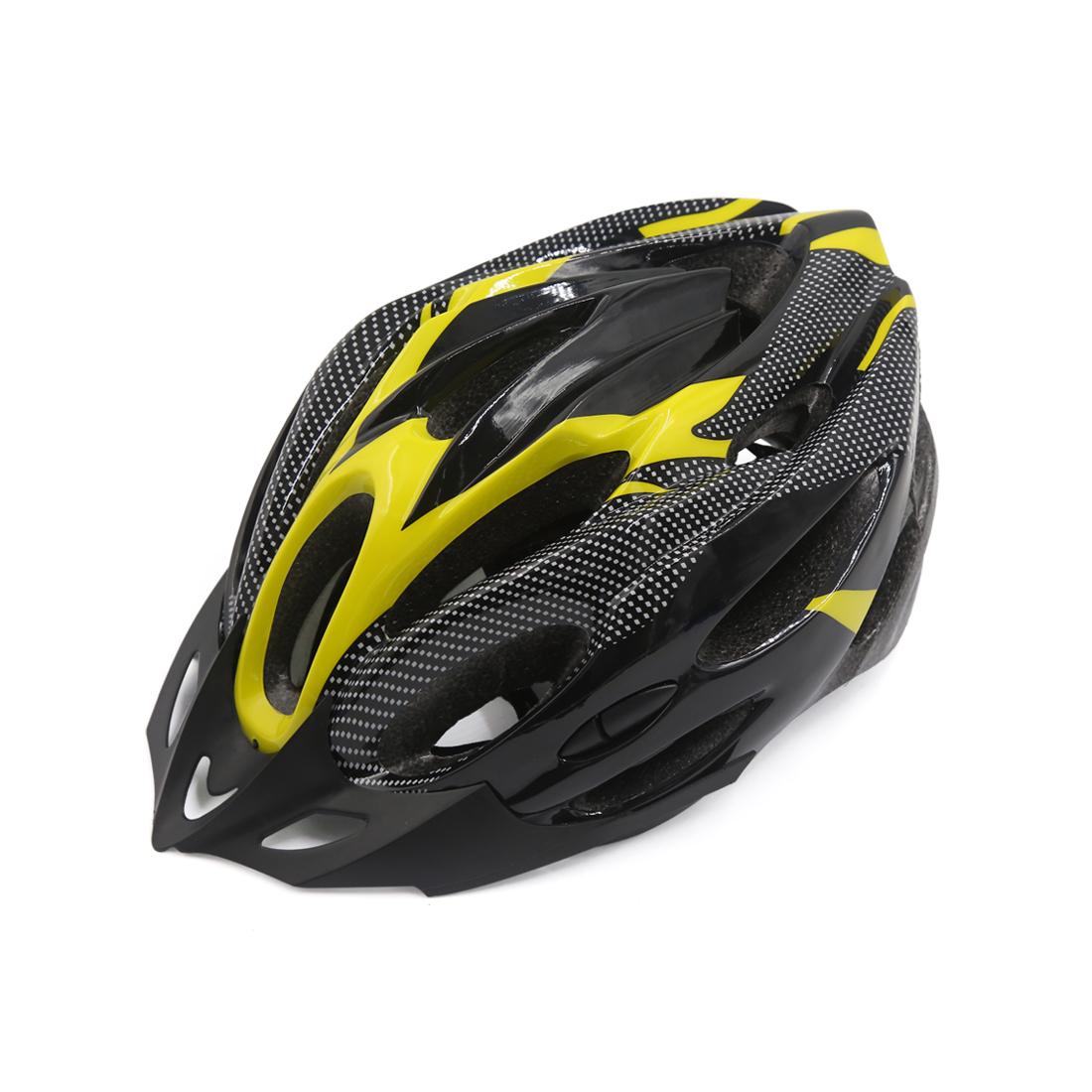 Carbon Fiber Pattern 21 Holes Cycling Bicycle Soprt Bike Helmet Visor Yellow