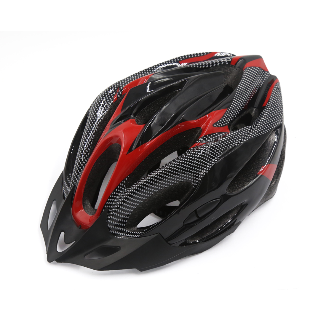 Carbon Fiber Pattern 21 Holes Cycling Bicycle Soprt Bike Safety Helmet Visor Red