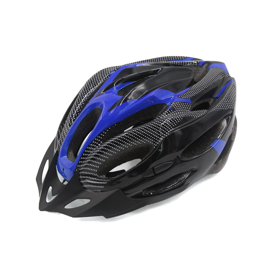 Carbon Fiber Pattern 21 Holes Cycling Bicycle Soprt Bike Helmet Visor Blue