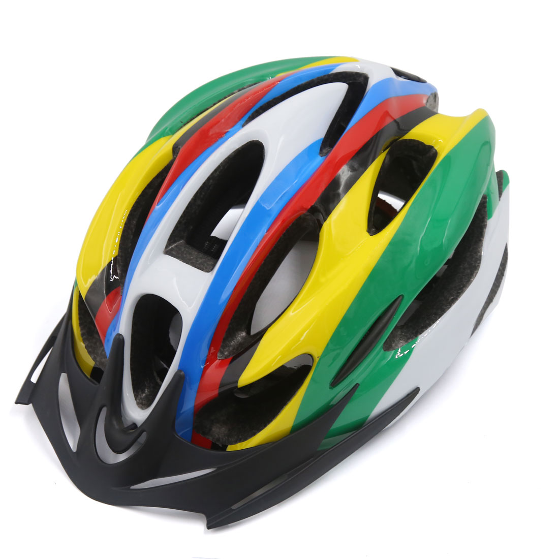 Colorful 15 Vents EPS Outdoor Mountain Bicycle Helmet w Visor for 54-62cm Head