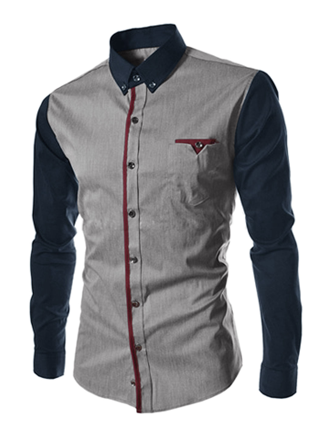 Men Contrast Color Long Sleeves Slim Fit Button Down Shirt Gray M