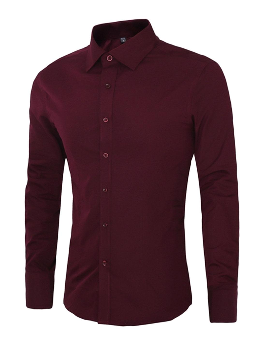 Men Button Closure Long Sleeve Slim Fit Dress Shirt Red M