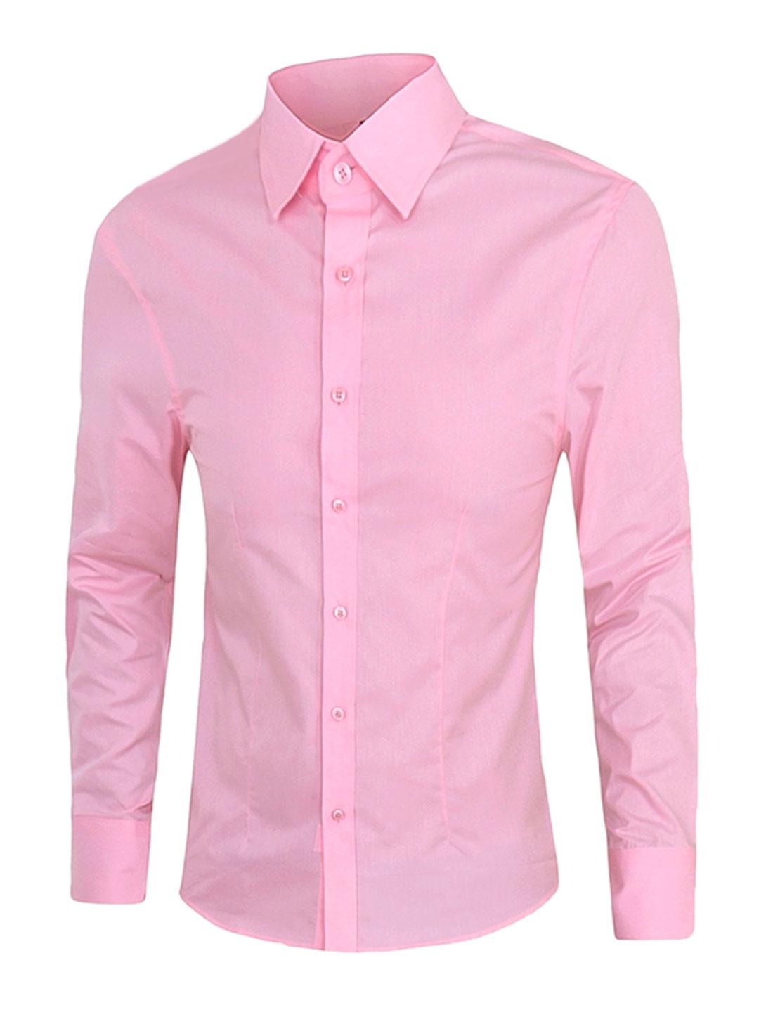 Men Long Roll Up Sleeve Point Collar Dress Shirt Pink M