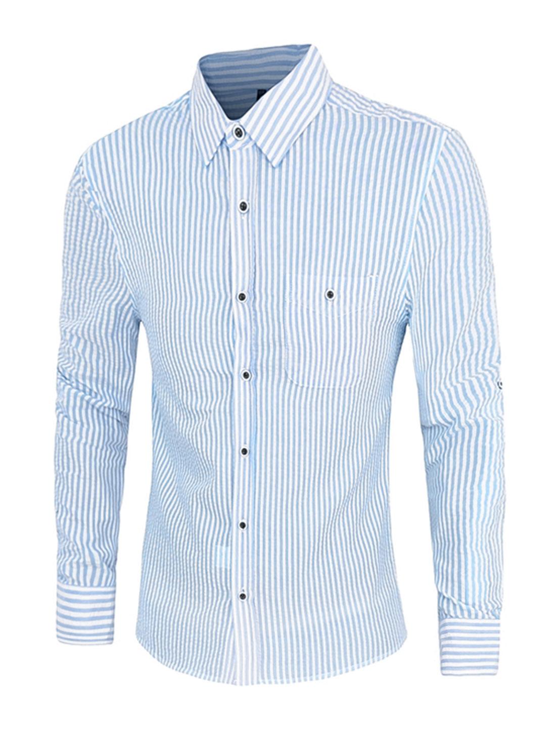 Men Single Breasted Stripes Long Sleeve Shirt Baby Blue M