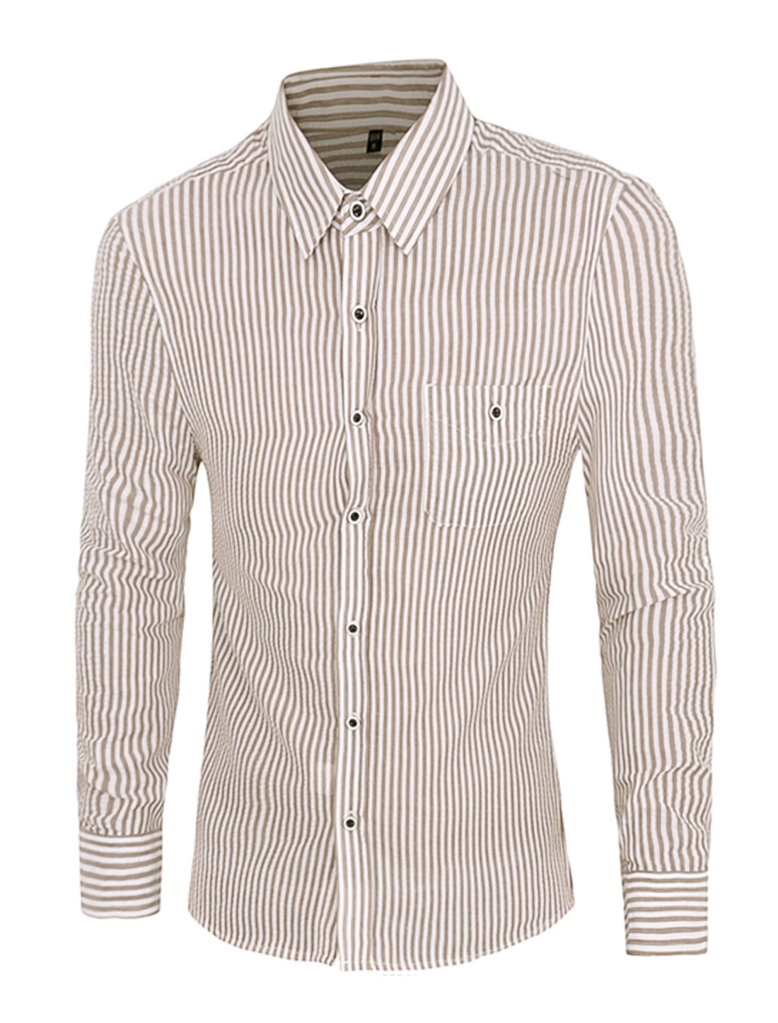 Men Button Closure Stripes Long Sleeve Slim Fit Shirt Brown M