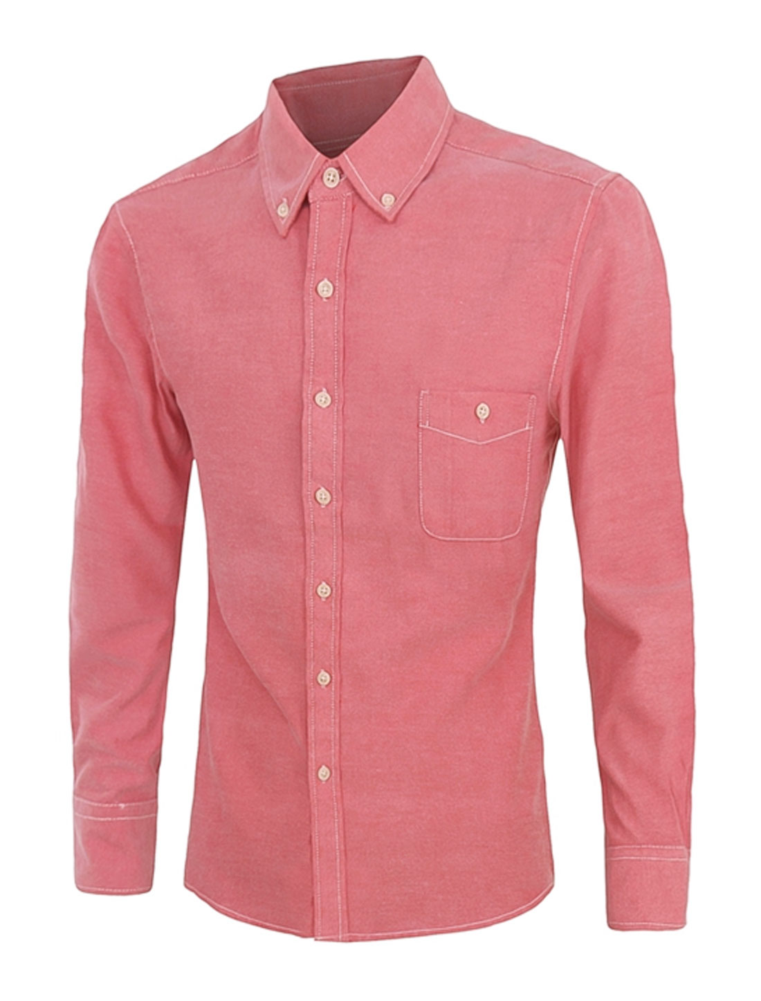 Men Long Sleeves Single Breasted Buttoned Pocket Shirt Pink M