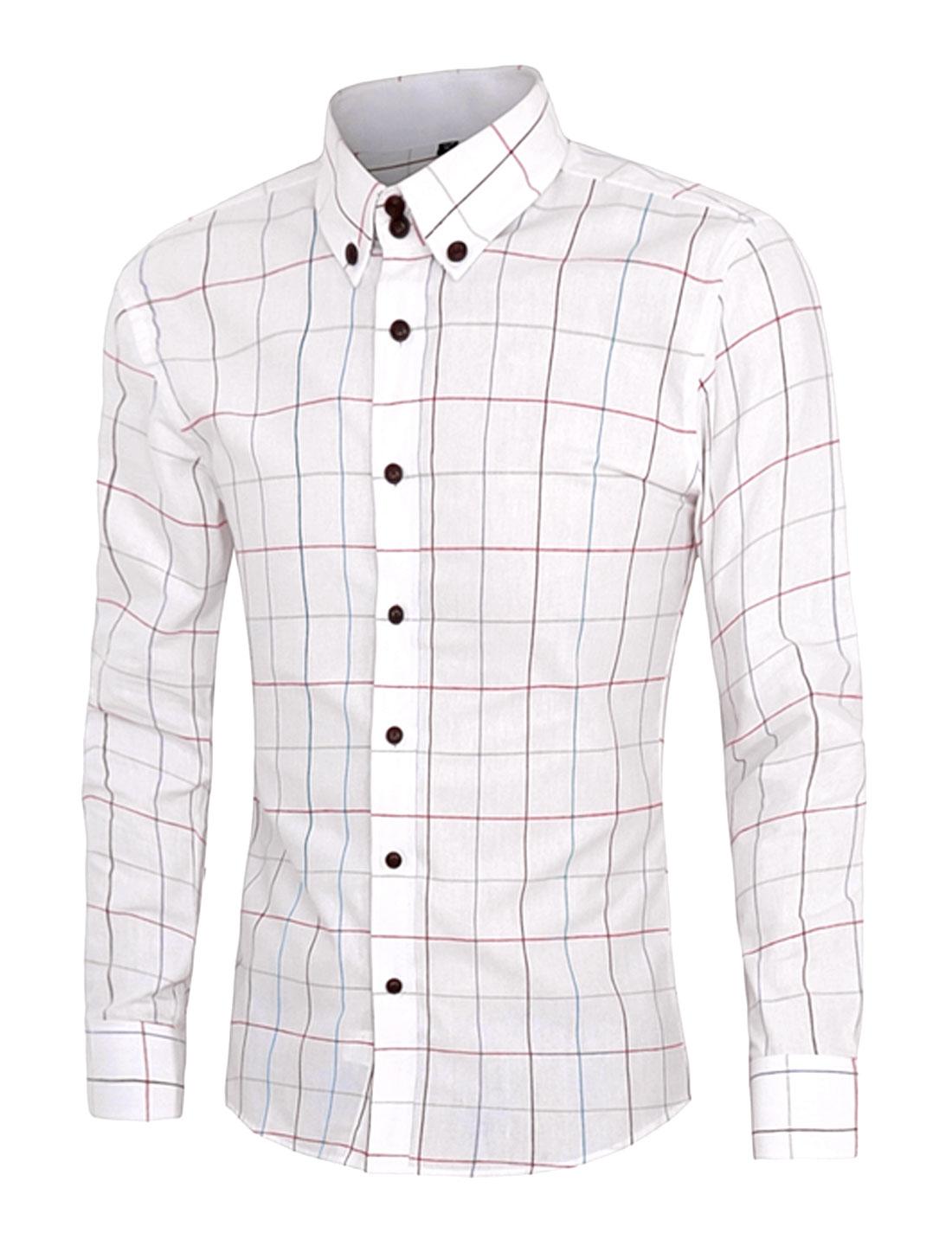 Men Long Sleeve Plaids Button Down Slim Fit Shirt White M