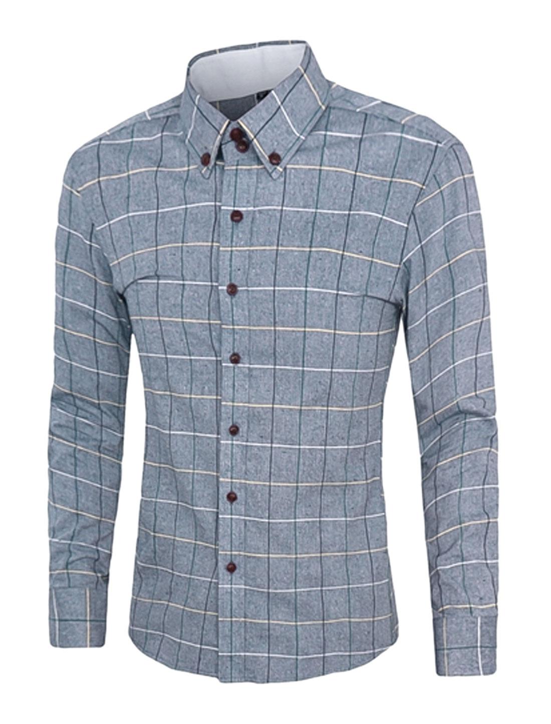 Men Long Sleeve Plaids Point Collar Slim Fit Shirt Dark Blue M