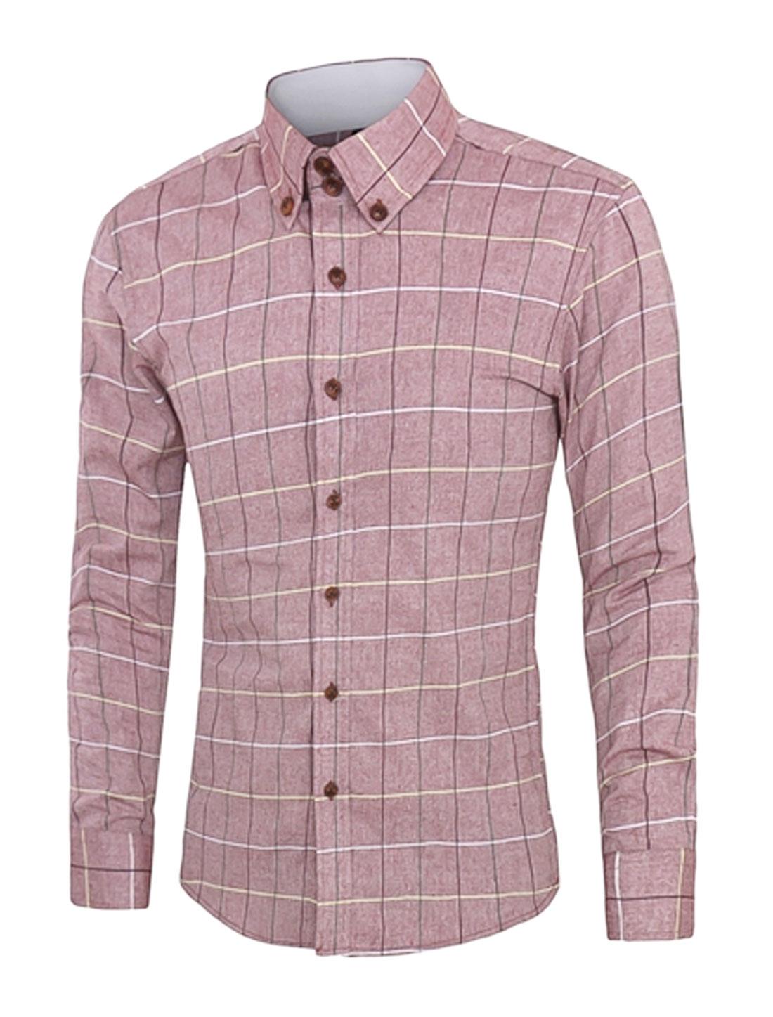 Men Long Sleeve Checks Button Closed Slim Fit Shirt Red M