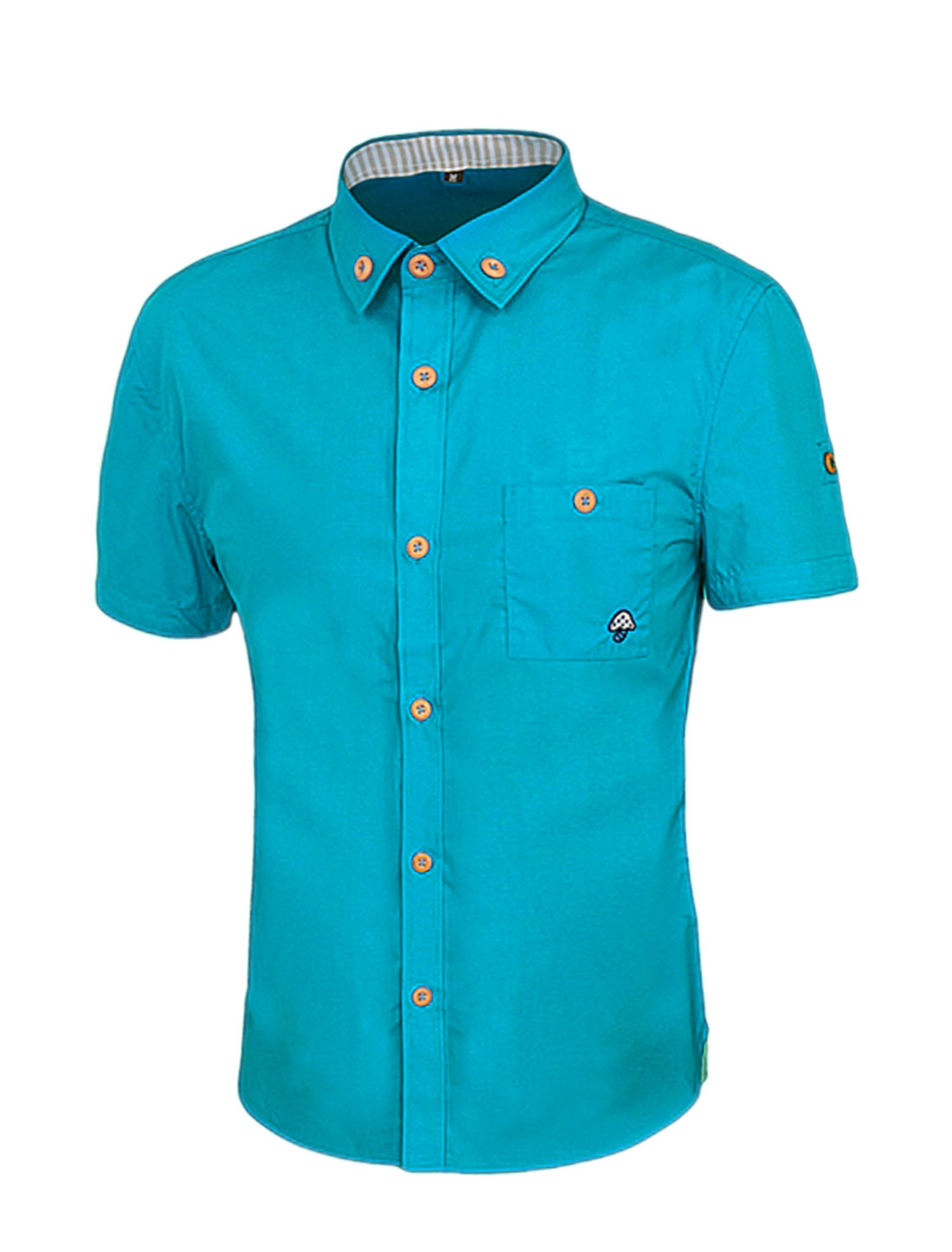 Men Short Sleeves Point Collar Slim Fit Button Down Shirt Blue M