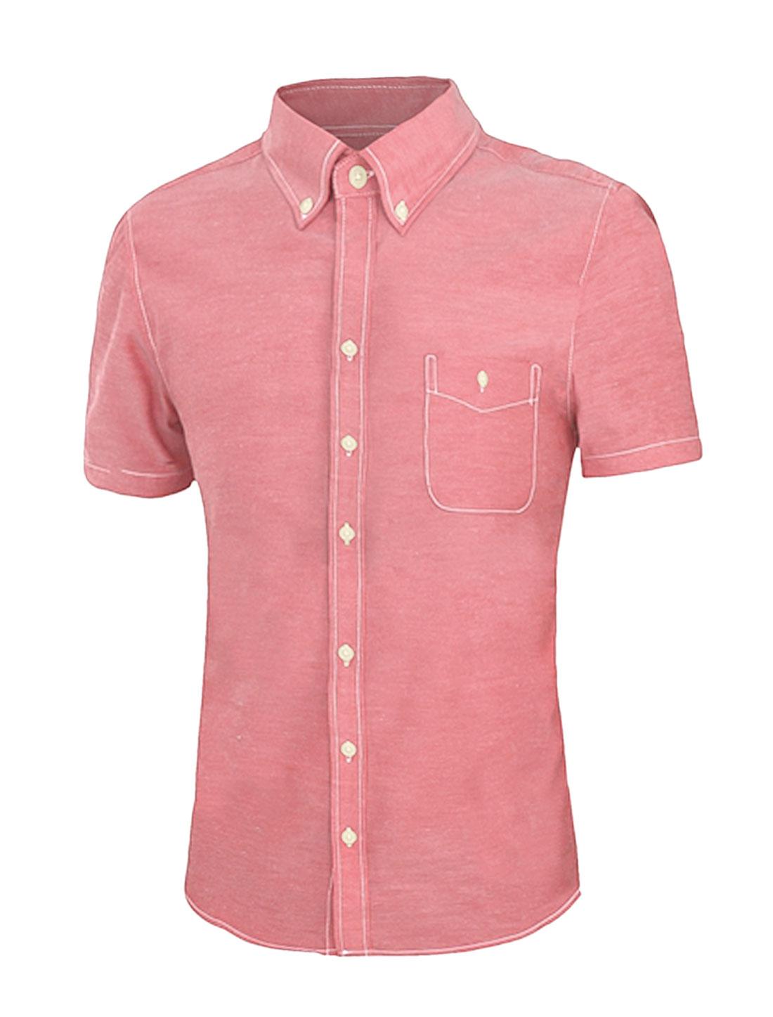 Men Single Breasted Pocket Short Sleeve Shirt Red M