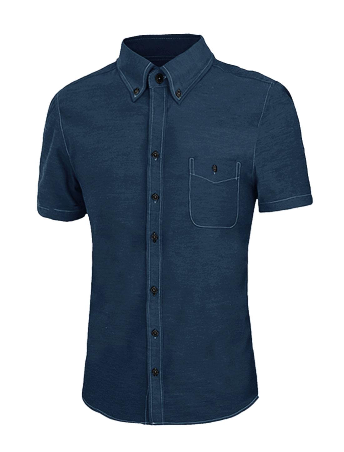 Men Short Sleeve Button Down Pocket Shirt Dark Blue M