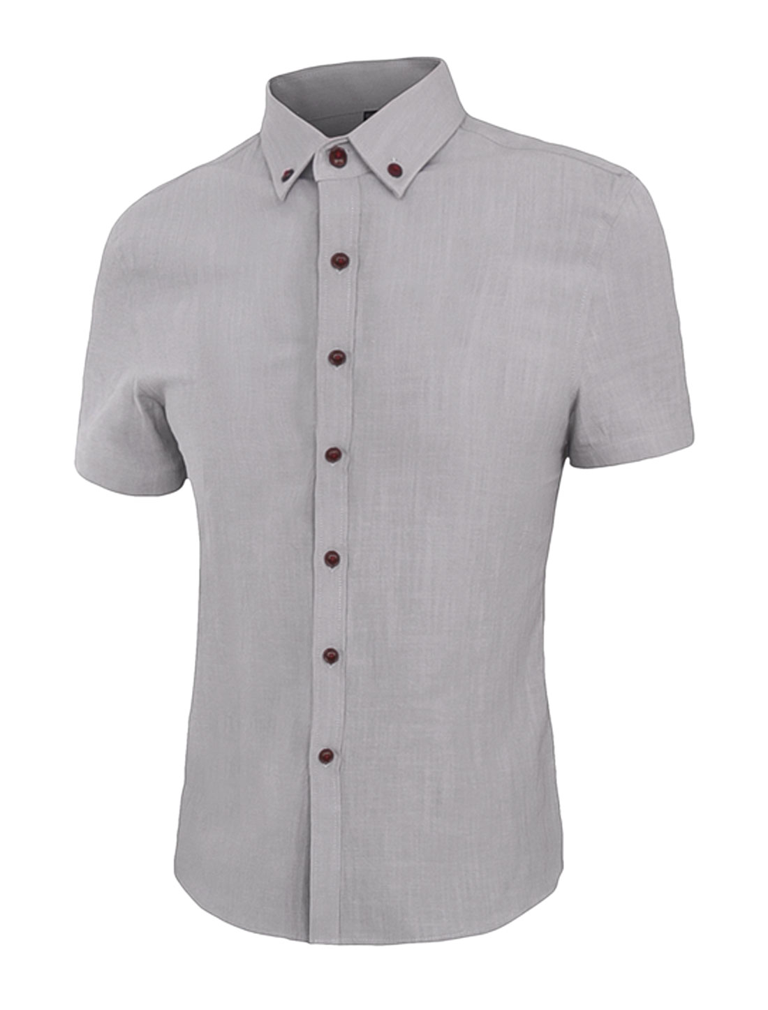 Men Point Collar Short Sleeves Slim Fit Button Down Shirt Gray S