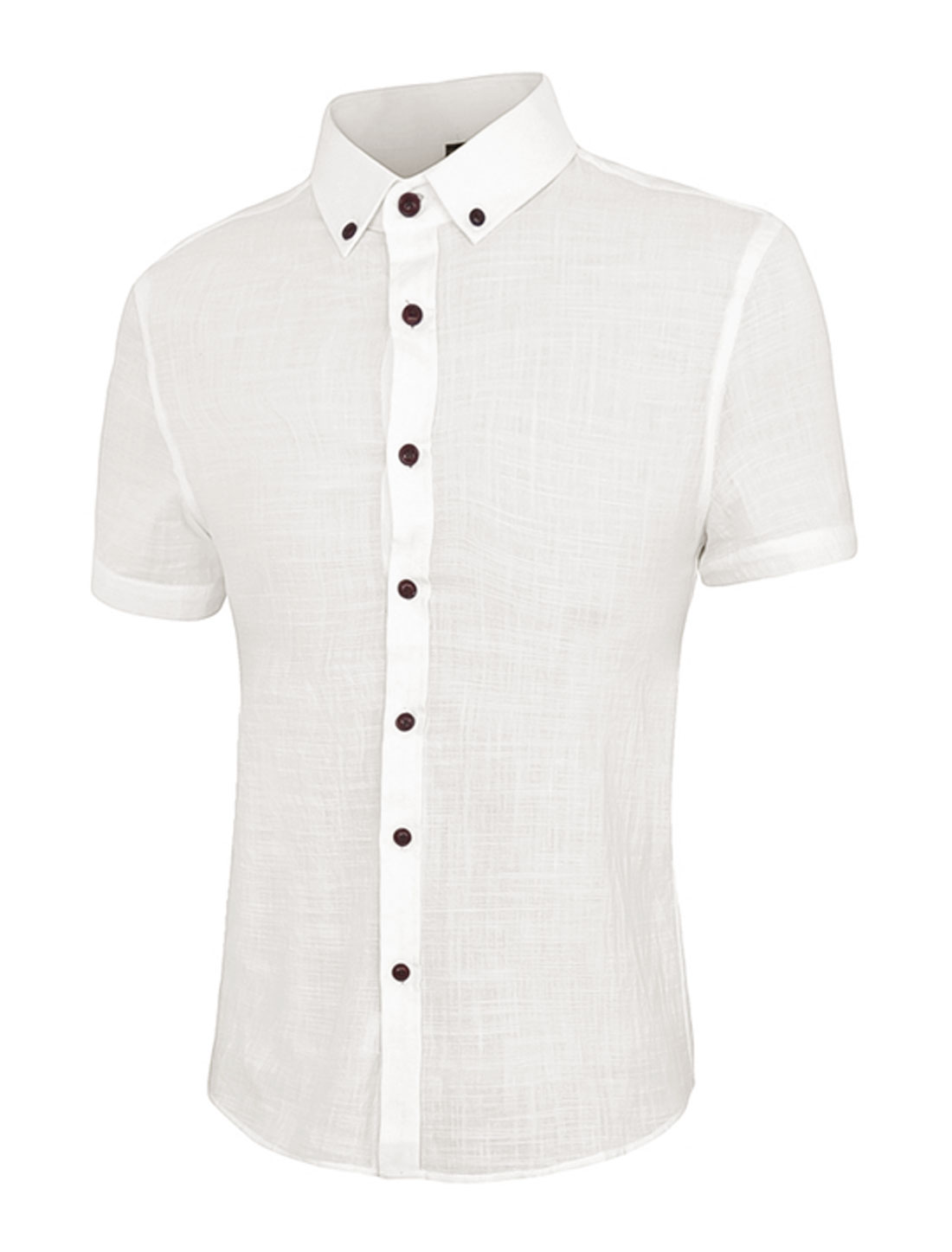 Men Point Collar Short Sleeves Slim Fit Button Down Shirt White M