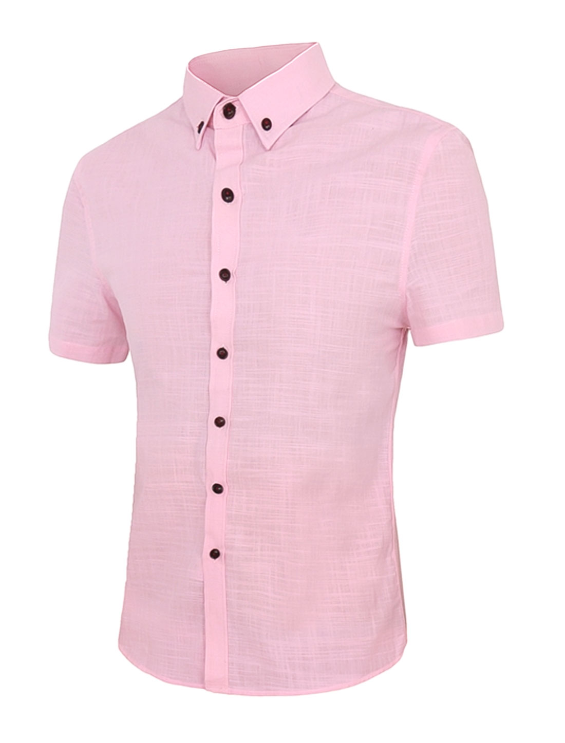 Men Point Collar Short Sleeves Slim Fit Button Down Shirt Pink M