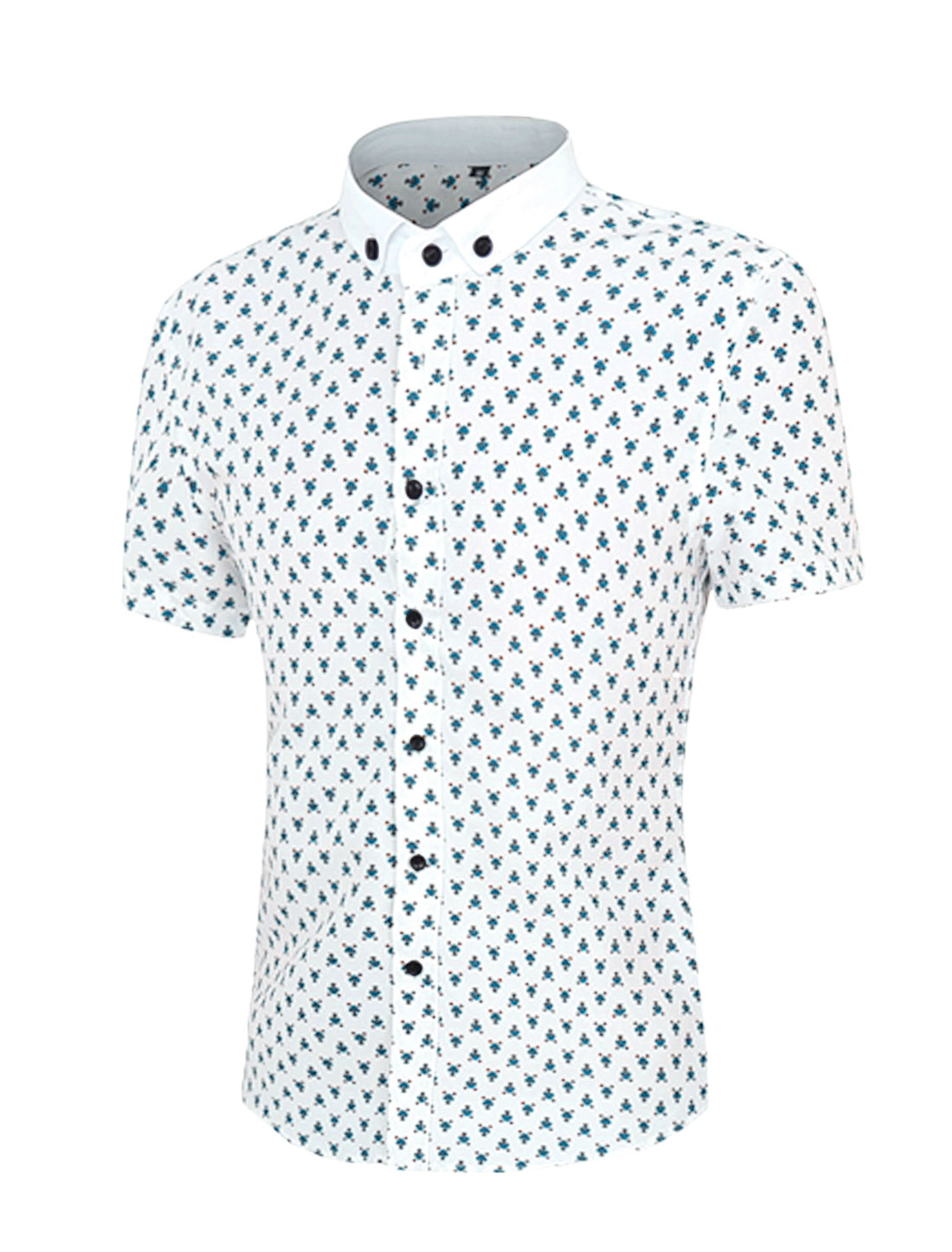 Men Short Sleeves Button Down Floral Prints Shirt Blue M