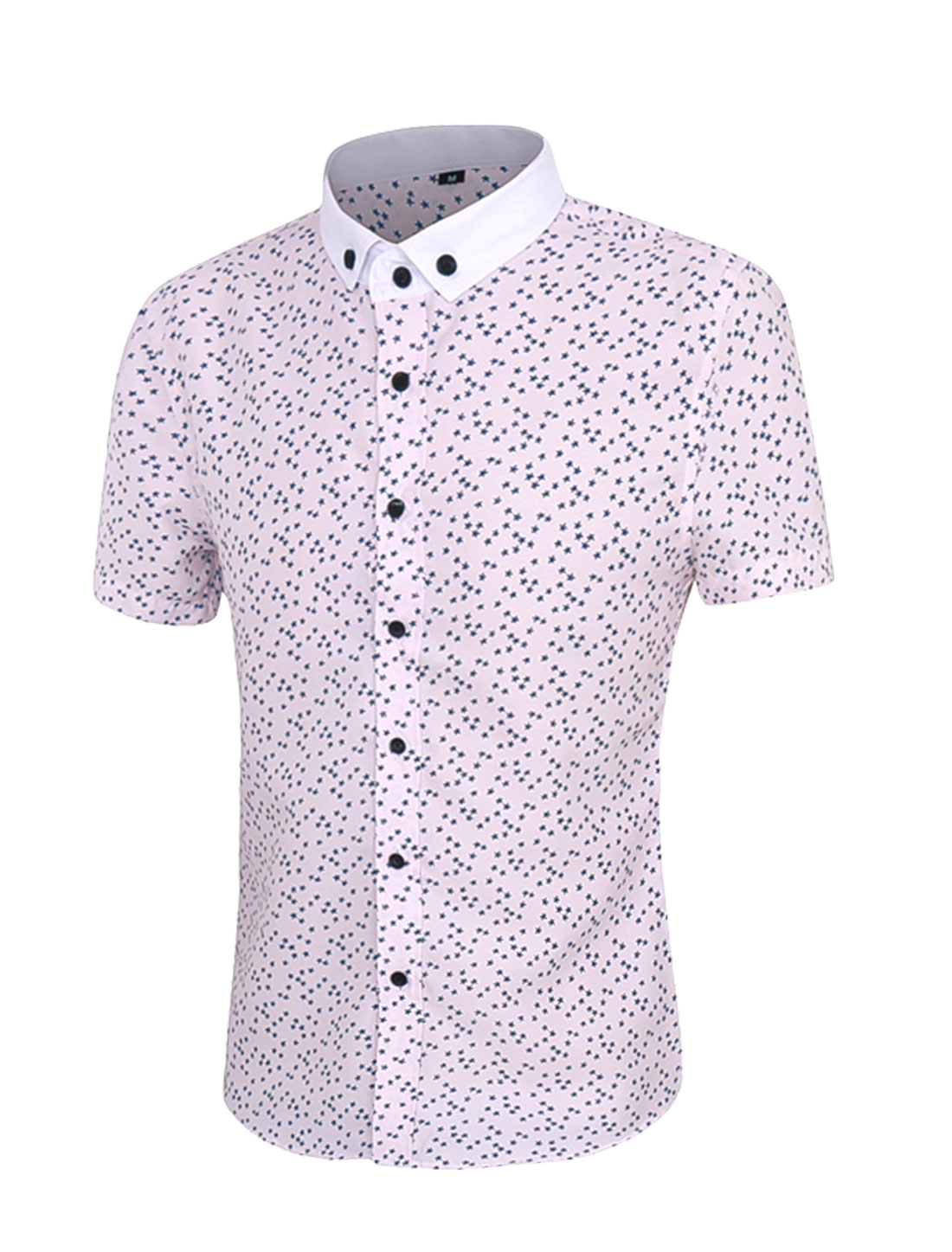 Men Short Sleeves Button Down Stars Prints Shirt Pink M