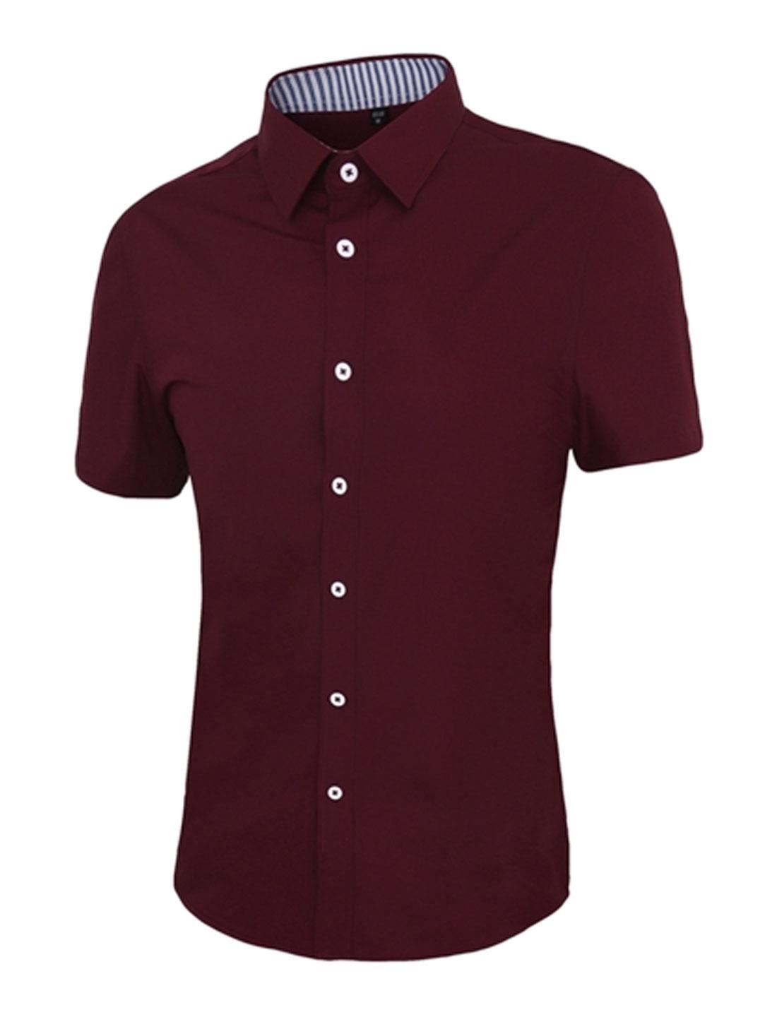 Men Short Sleeve Button Down Slim Fit Shirt Red S