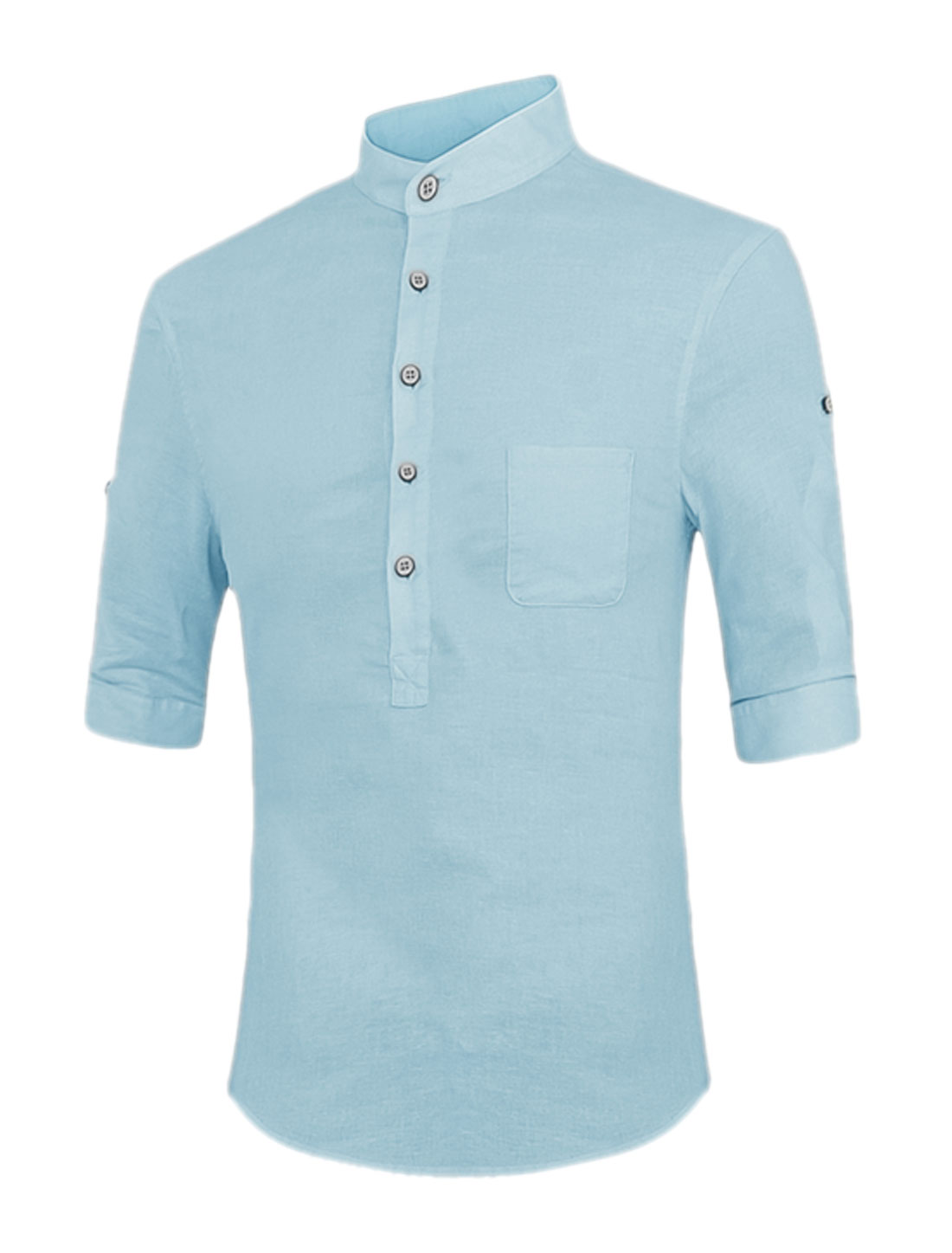 Men Stand Collar Roll Up Sleeves Split Sides Button Upper Shirt Light Blue M