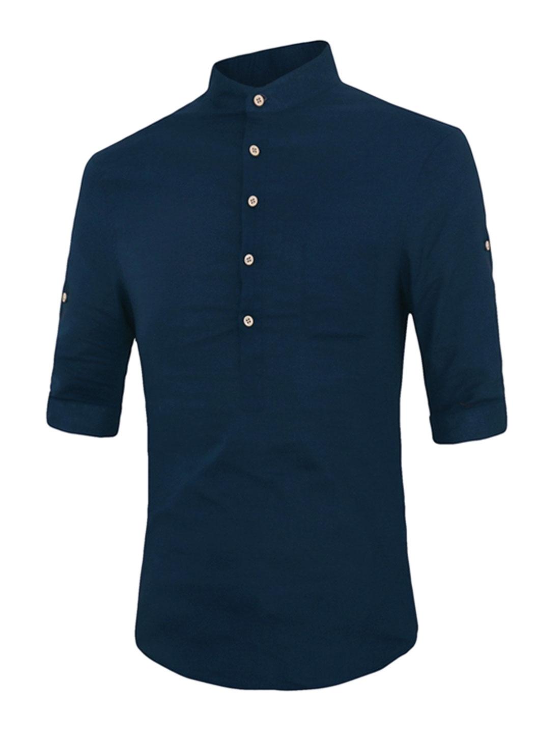 Men Stand Collar Roll Up Sleeves Split Sides Button Upper Shirt Dark Blue M