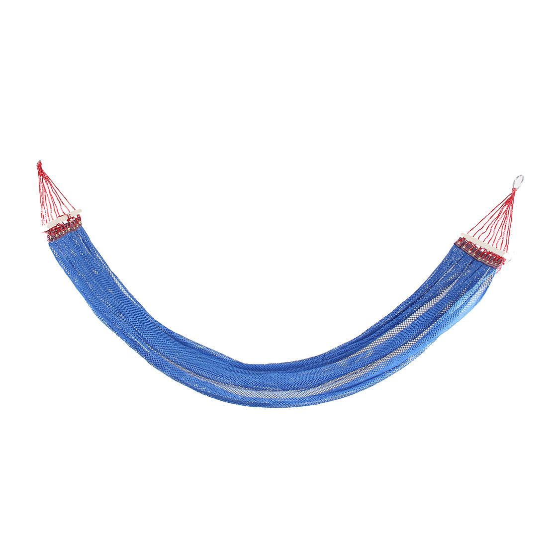 Beach Travel Hiking Nylon Mesh Wooden Stick Swing Hanging Bed Suspended Hammock Blue