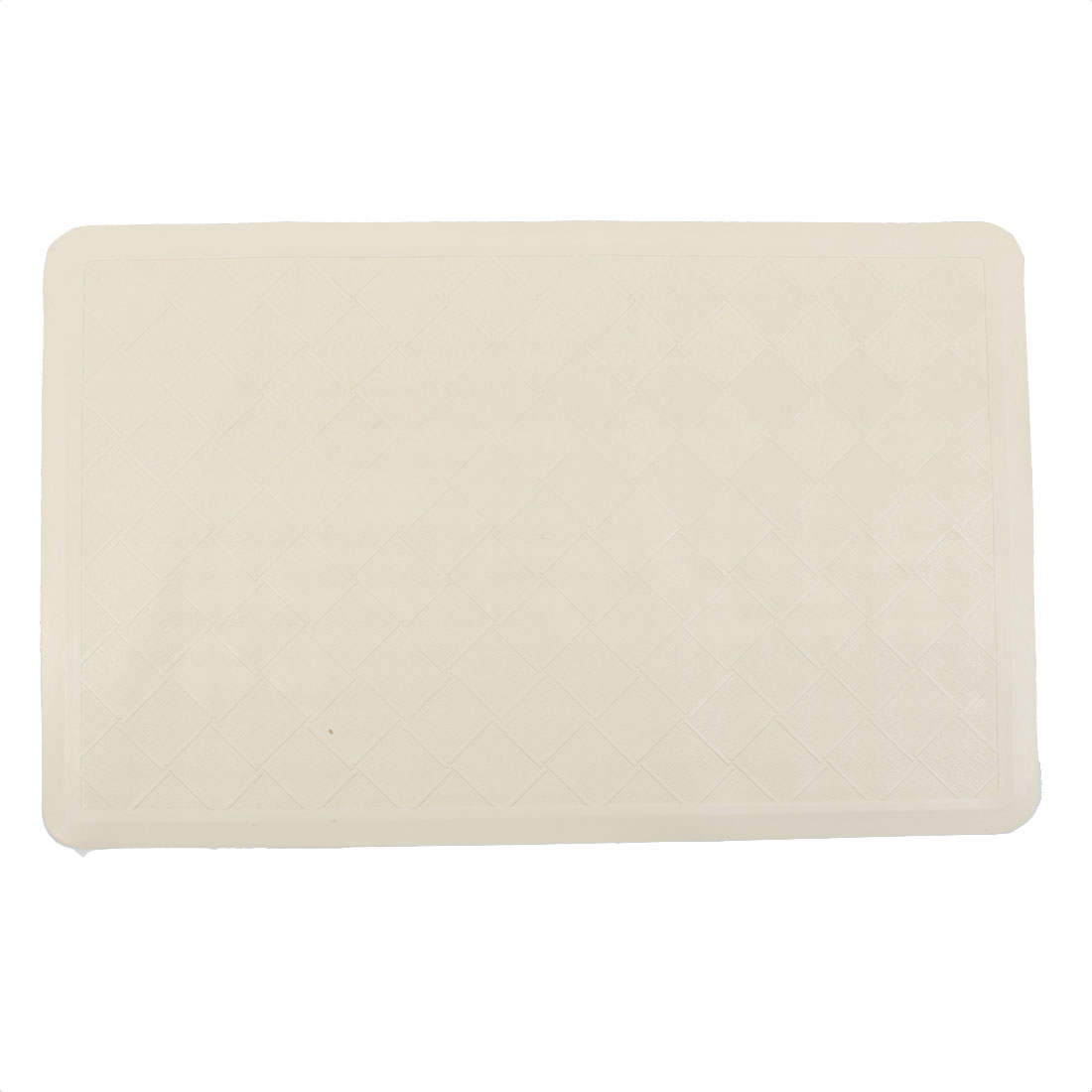 Hotel Bathroom Rubber Checked Non Slip Suction Floor Bath Mat Beige 35cm x 56cm
