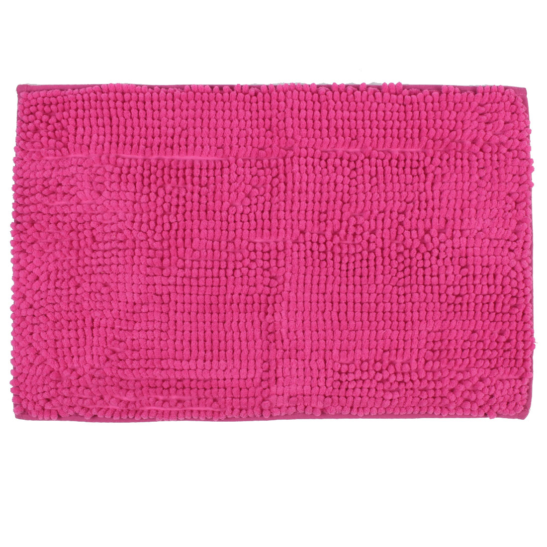 Home Bathroom Gym Soft Non Slip Absorbent Bath Mat Carpet Fuchsia 24 x 16 Inch