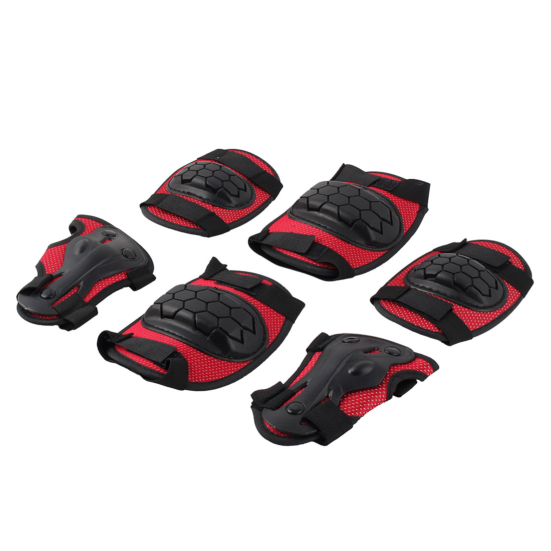 Outside Sports Gear Safety Pad Safeguard Knee Elbow Plam Brace Protector Black Red 6 in 1