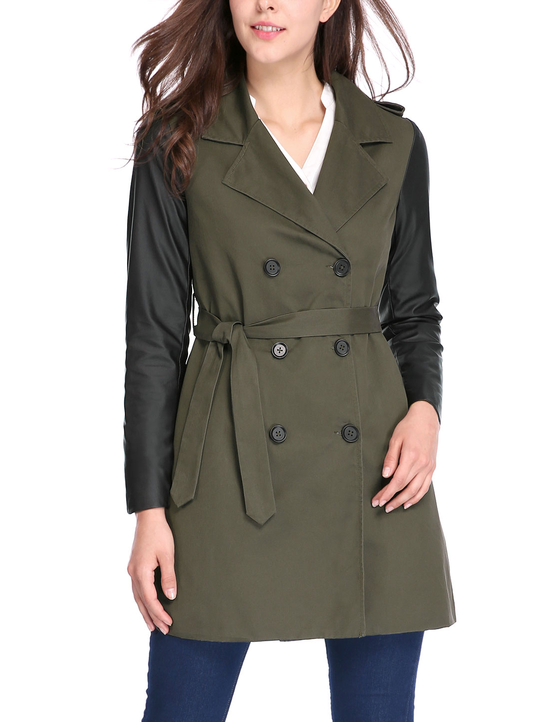 Women PU Panel Double Breasted Belted Trench Coat Green M