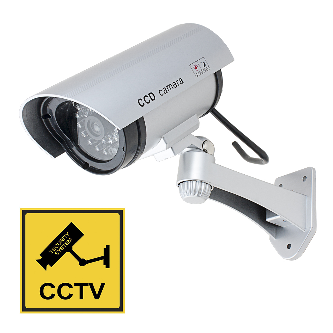 Fake Dummy Realistic Looking Imitation Camera Red LED Blinking AA Battery Powered Silver Tone