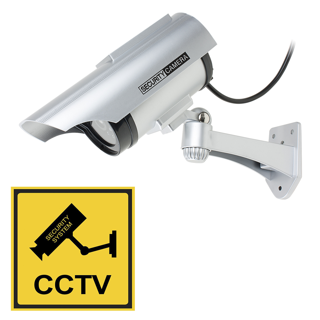 Fake CCTV Dummy Realistic Looking Security Camera Red LED Light Blinking Solar Energy Powered