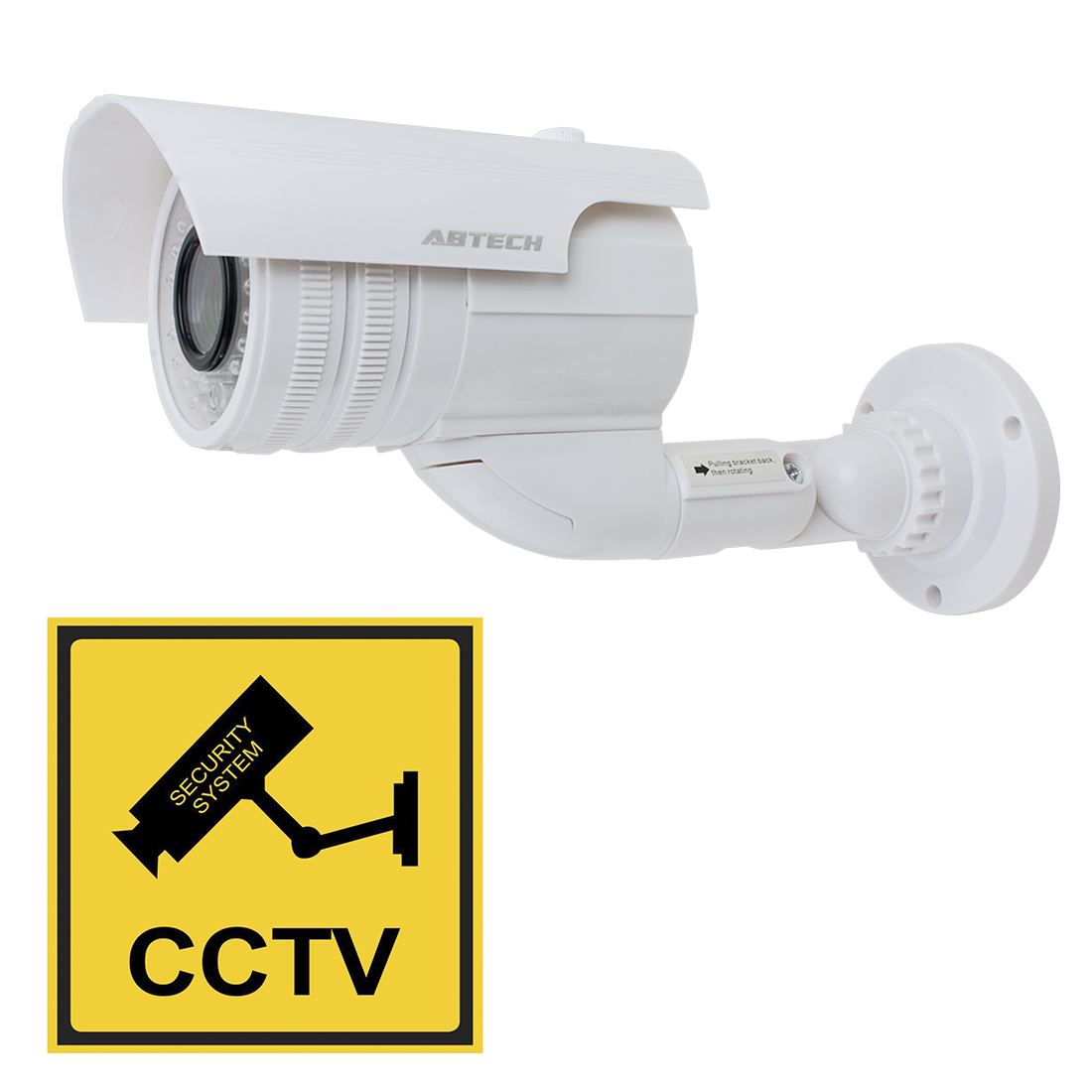 Fake CCTV Dummy Realistic Looking Security Camera Red LED Light Blinking