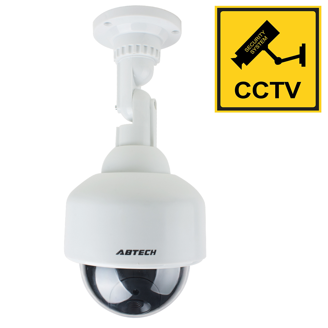 Fake Dummy Speed Dome Realistic Looking Security Camera Red LED Light Warning AA Battery Powered
